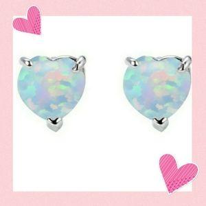 Fire Opal Heart Earings